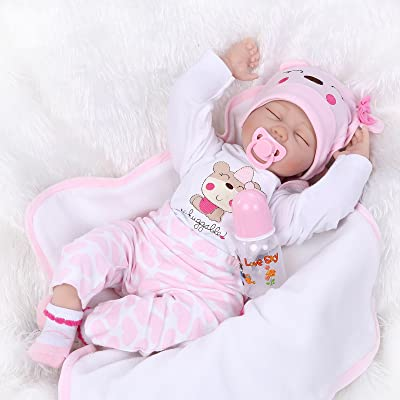 Nicery Reborn Baby Doll Soft Simulation Silicone Vinyl 22inch 55cm Magnetic Mouth Lifelike Boy Girl Toy Pink White Eyes Close 55C075: Toys & Games