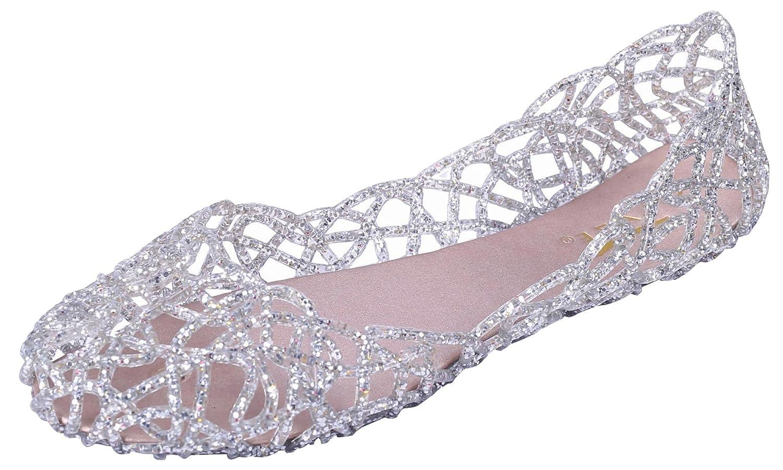 Glaze Womens Cutout Glitter Jelly Round Toe Ballet Flats