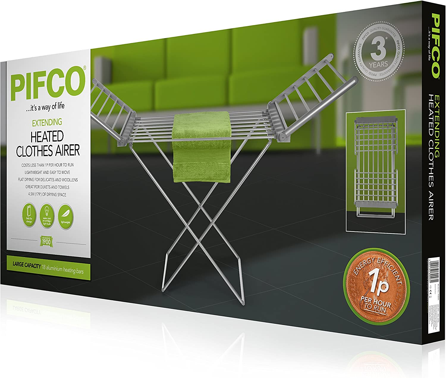 PIFCO Heated Clothes Airer 8 Heating Bars 120 W White