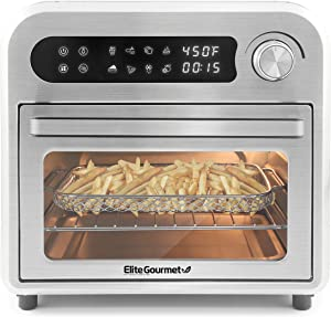 Maxi-Matic EAF1010D Programmable Air Fryer Convection Countertop Oven, 8 Menu Settings, Temperature + Timer Controls, Bake, Toast, Broil, Air Fry, 1500W with Recipes, Steel Exterior