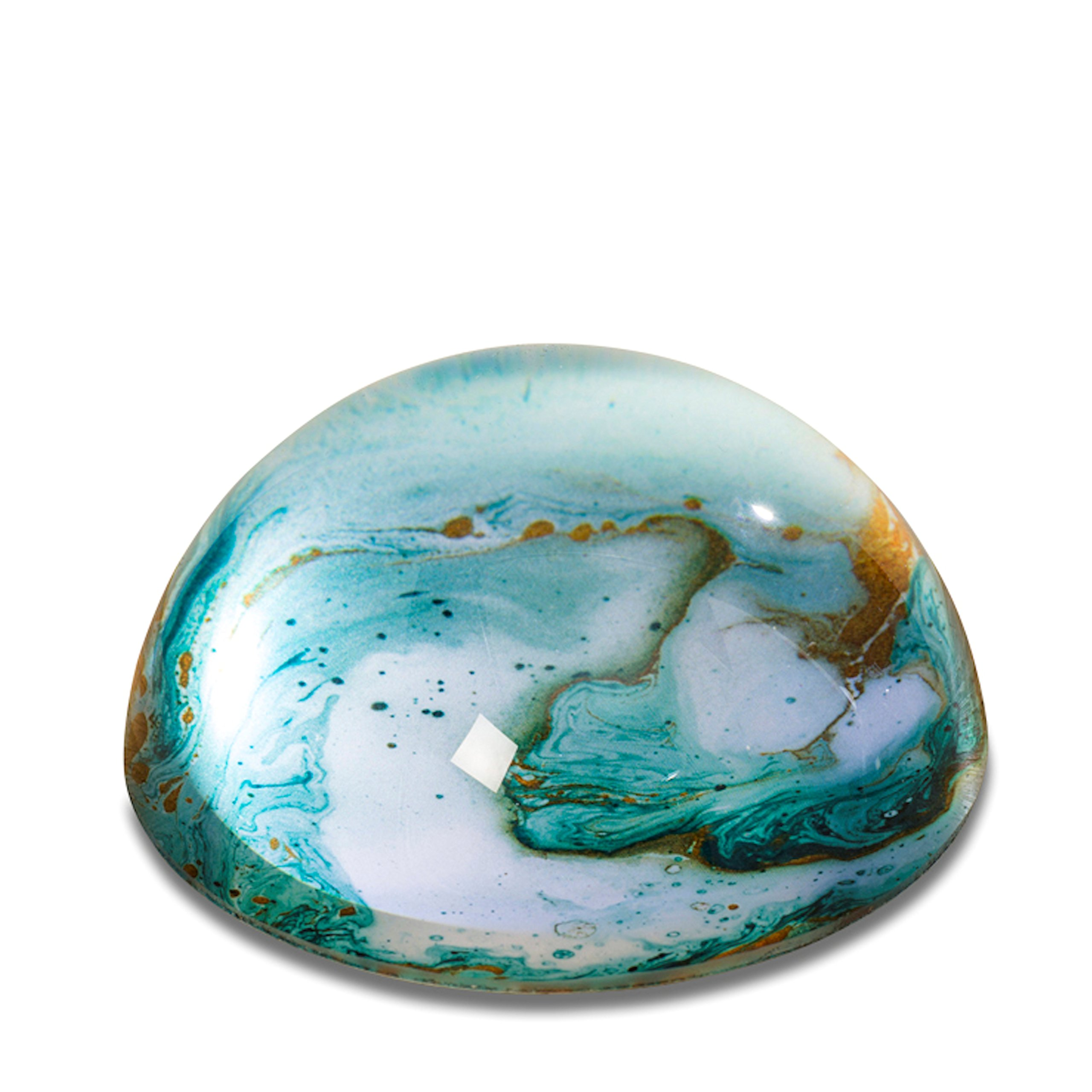 The Swirling Surf Paperweight, Clear Glass Dome, Aqua Marine Green and White, Handcrafted Art Object, 3 Inch Diameter, Hemi Sphere, Velvet Coated Flat Bottom by WHW