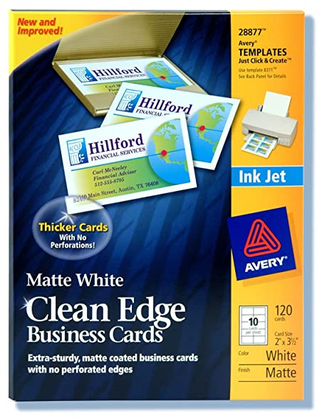Amazon avery 28877 white ink jet printer business cards 120 avery 28877 white ink jet printer business cards 120 count reheart Choice Image