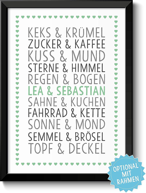 DU & ICH - personalisiertes Bild für Paare Ehepaare Geschwister ...
