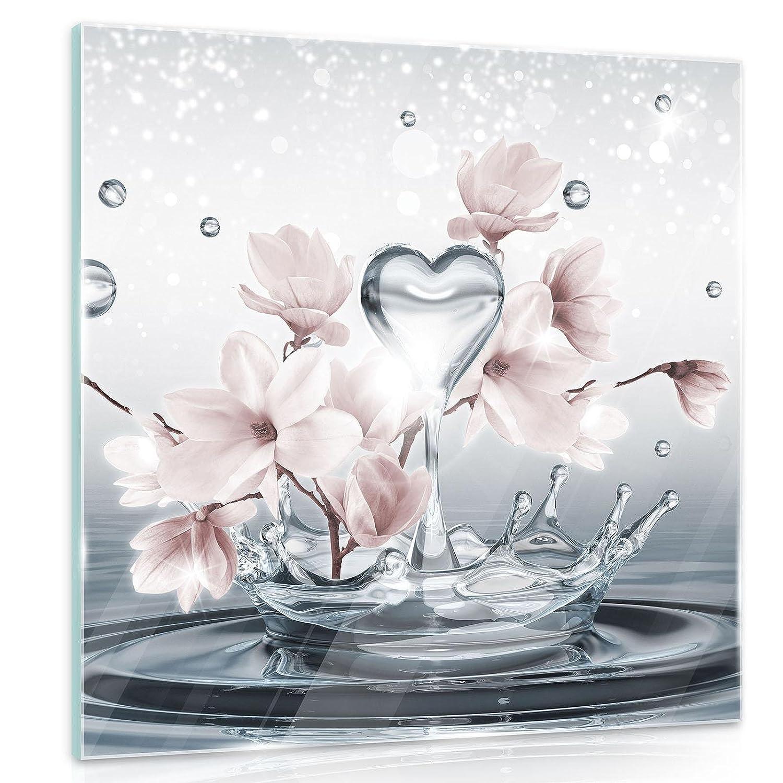 AMFGT10163G2 Natur Blume Blumen Magnolie Wasser Eleganz Weiss FORWALL Glasbild Glasfoto Echtglas Wandbild Magnolie G2 30cm. x 30cm.