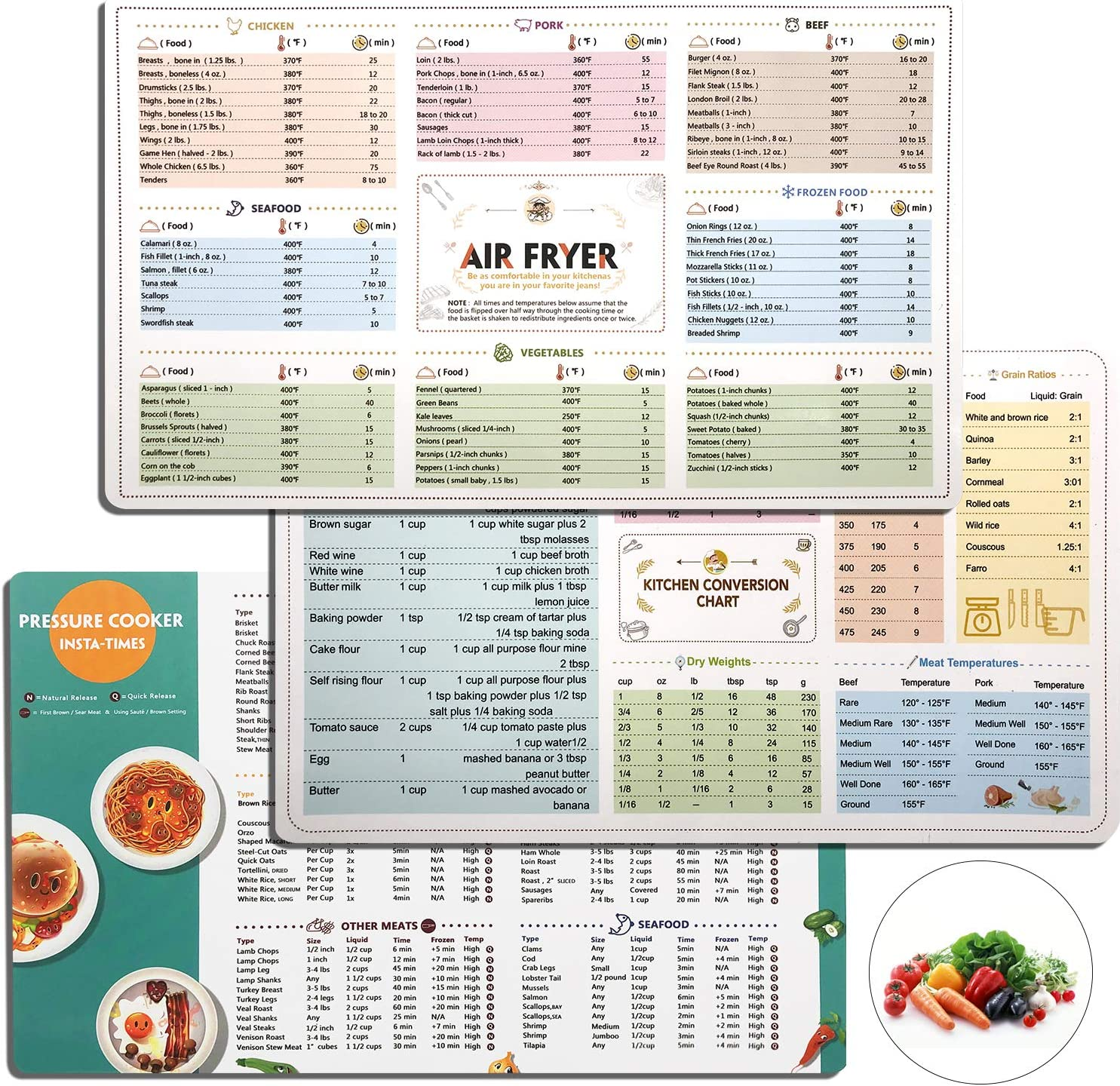 Air Fryer Cooking Times Quick Reference Guide,Instant Pot Cook Times Cookbook Cooker Accessories,Cheat Sheet Magnets Set-Clear and Easy Cooking Time(3 Pack)