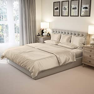 """Mulberry Park Silks - Queen Silk Sheet Set (15"""" Pocket) - Sand - Deluxe 22 Momme 100% Pure Mulberry Charmeuse Natural Bedding - Oeko-TEX Certified - Seamless"""