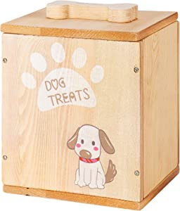 Wooden Dog Biscuits Storage Box with Lids- Rustic Wood Pet Food and Treats Tin with 136 Oz Large Capacity Farmhouse Style Adorable Storage Canister Container for Dogs Cat Pets Cookie Treats Pet Gifts
