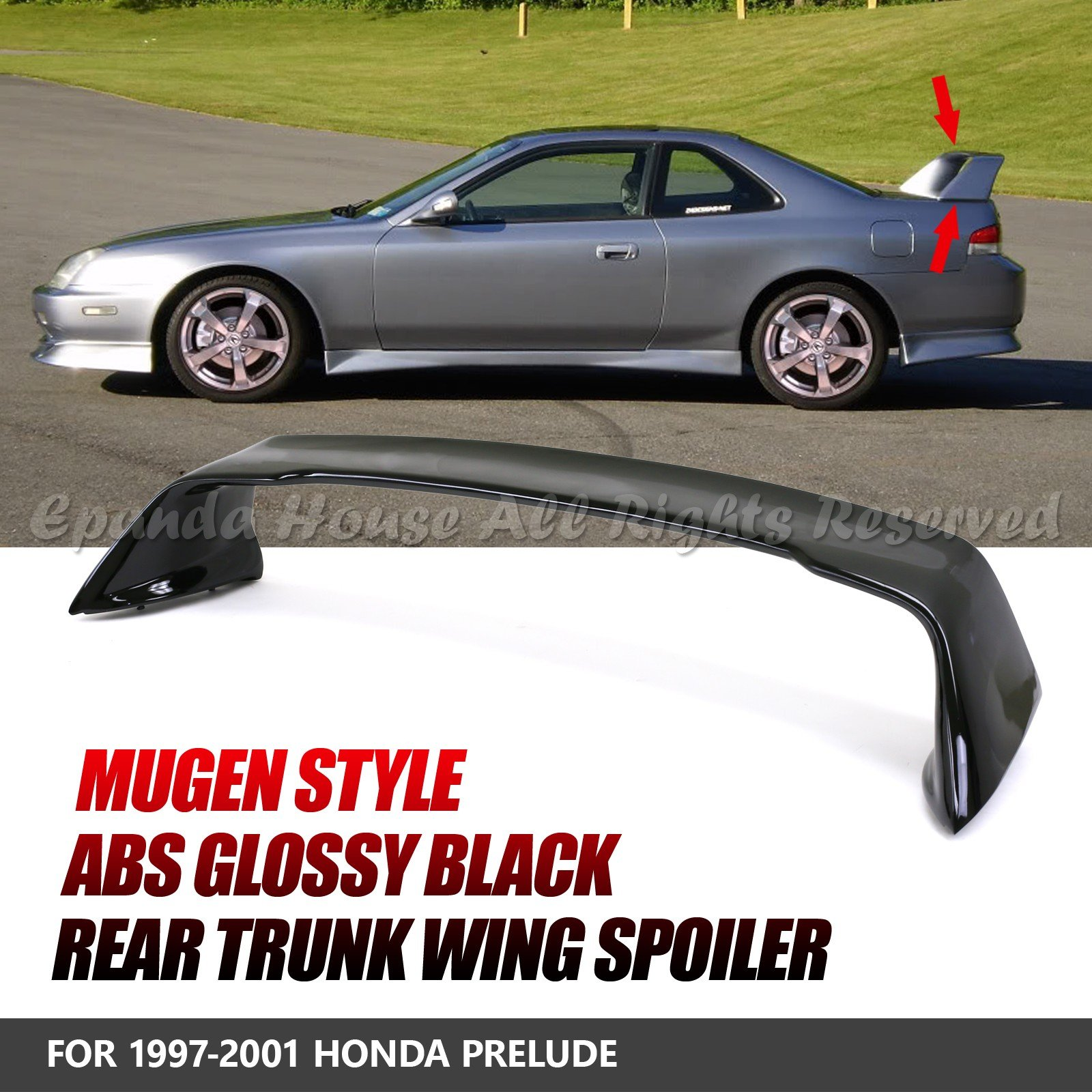 EpandaHouse Compatible with 97-01 Prelude BB H22A4 Mu Style Glossy Black Abs Rear Trunk Spoiler Wing