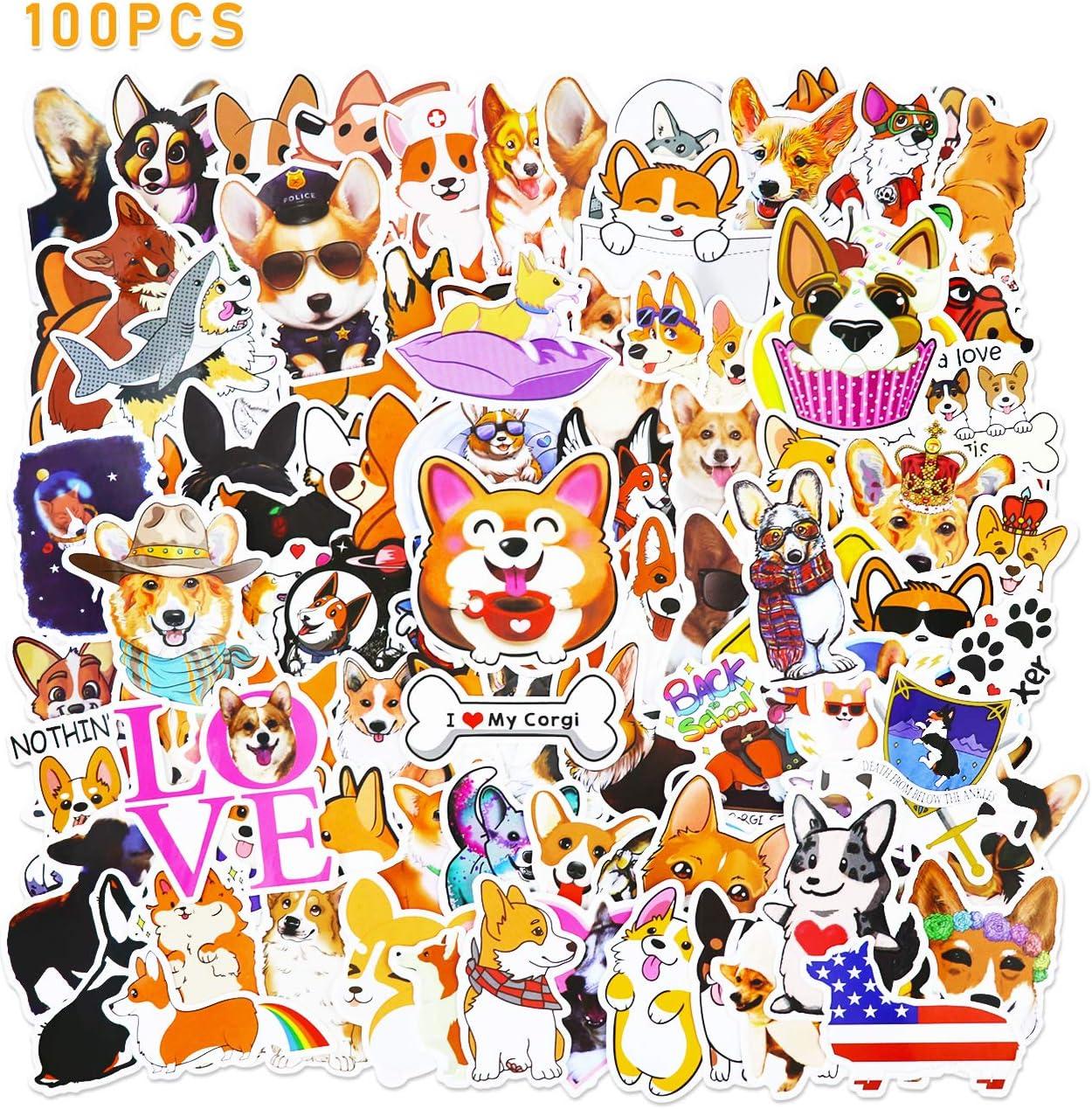 Cute Corgi Dog Stickers for Kids Water Bottle Laptop Hydroflask Scrapbook Vinyl 100 pcs Animal Welsh Corgi Pembroke
