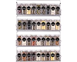 SWOMMOLY Wall Mount Spice Rack, 4 Pack Stackable Foldable Spice Racks Organizer,Silver,Large