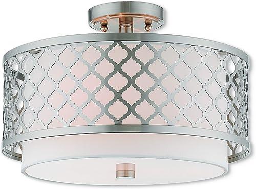 Livex Lighting 41108-91 3 Light Ceiling Mount, Brushed Nickel