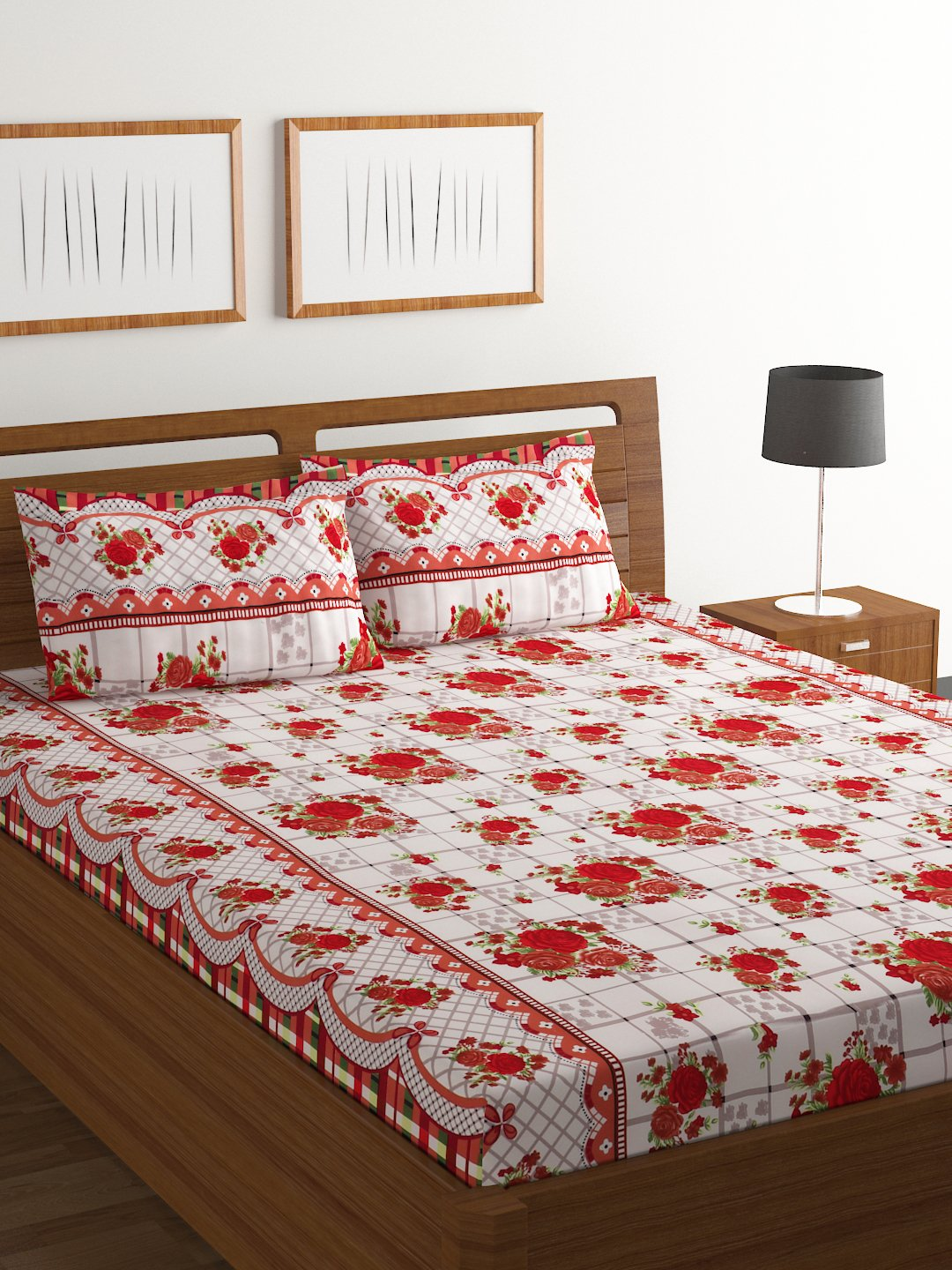 Bombay Dyeing 120 TC Polyester Amber Beautiful and Elegant Modern Print Double Bedsheet with 2 Pillow Covers