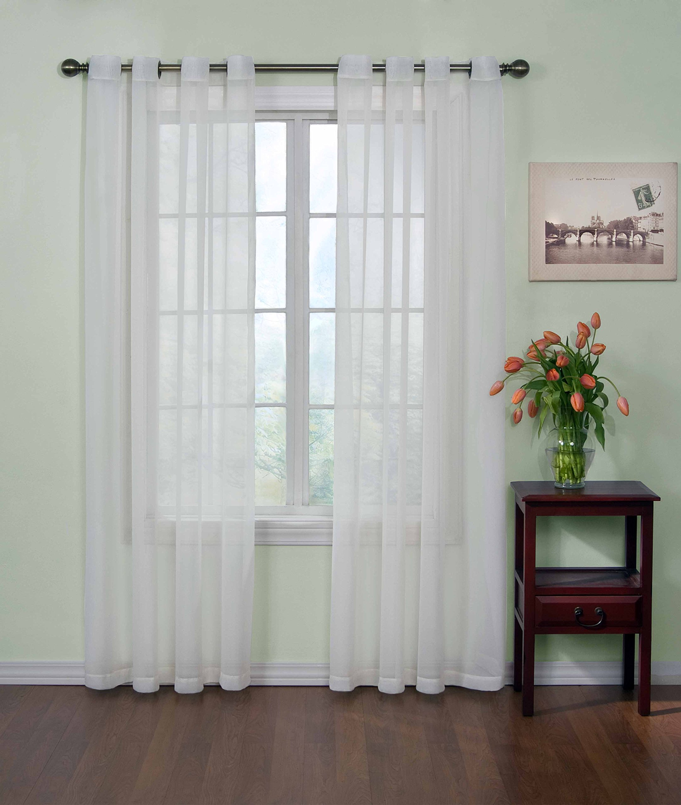CURTAIN FRESH Sheer Curtains for Bedroom - Arm and Hammer 59'' x 84'' Light Filtering Single Panel Grommet Top Window Treatment for Living Room, White by Curtain Fresh