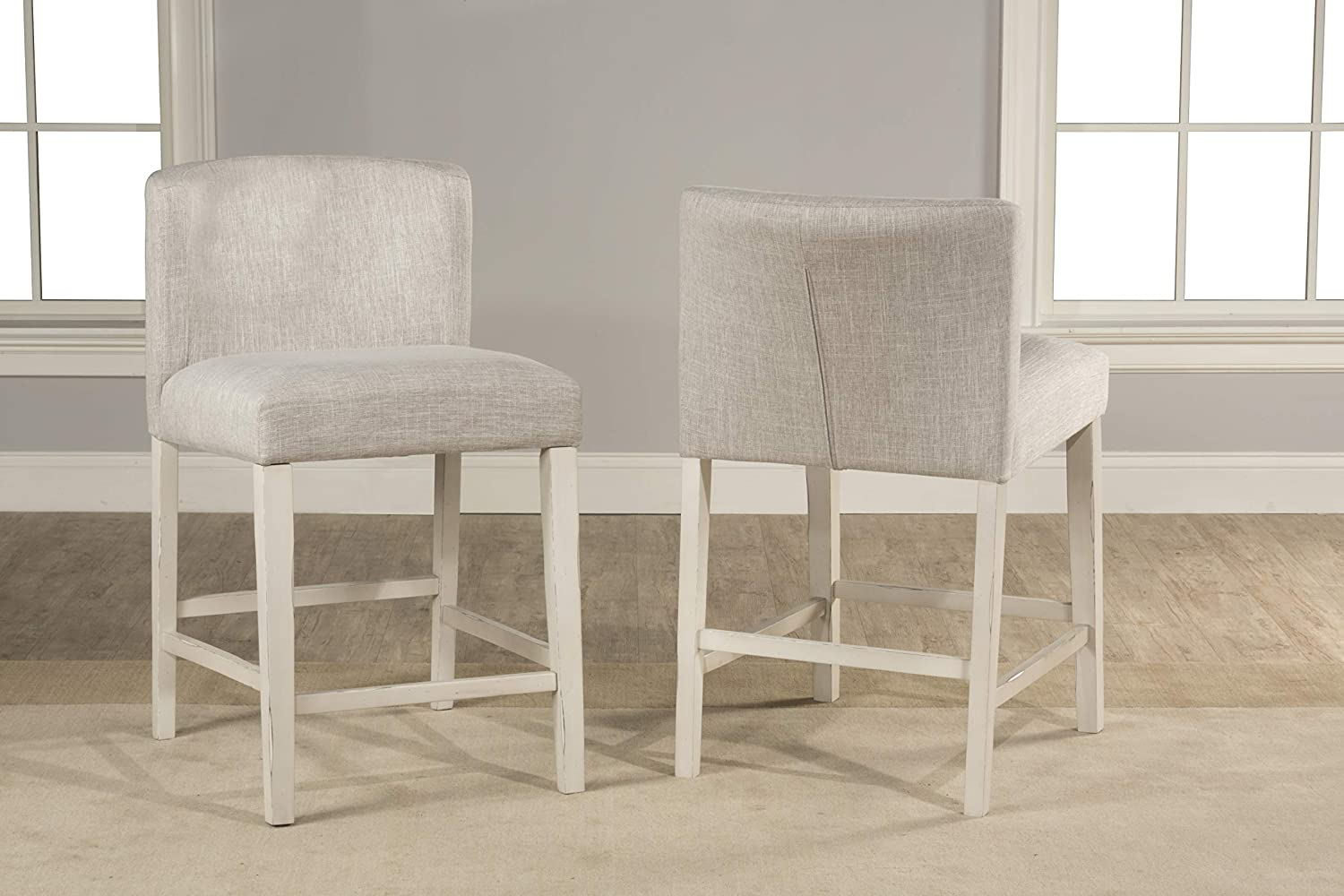 Hillsdale Furniture Hillsdale Clarion Upholstered Wing Arm Height Non-Swivel Counter Stool Set Sea White