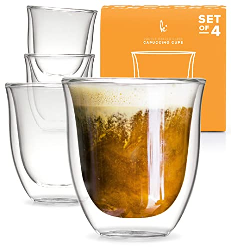 Glass Cappuccino Cups Double Walled Coffee Glasses Set Of 4