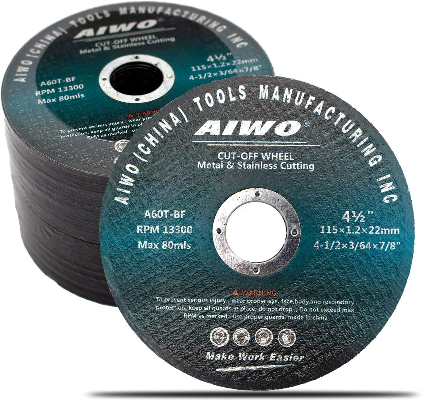 AIWO 25 Pack Grinding Wheel,Cutting Wheel,4-1/2-Inch'Cutting Disc, Cut Off Wheel with 0.04'' thickness, Alumina Grinder Blades For Metal, Stainless Steel (25PCS)