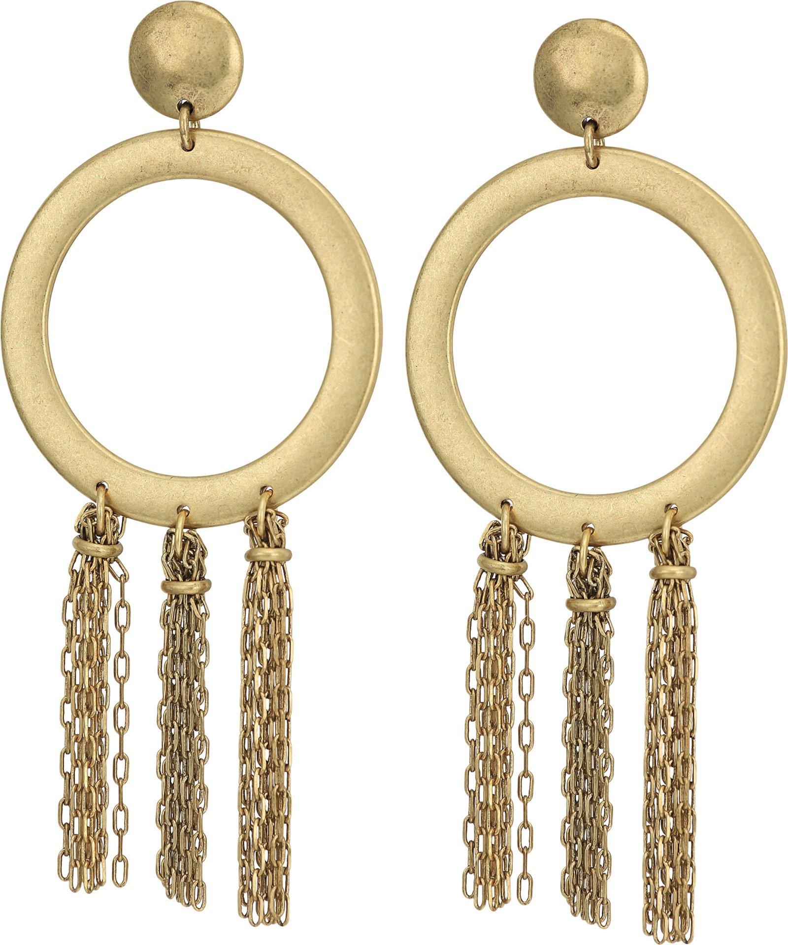 Lucky Brand Gold O Tassel Earrings