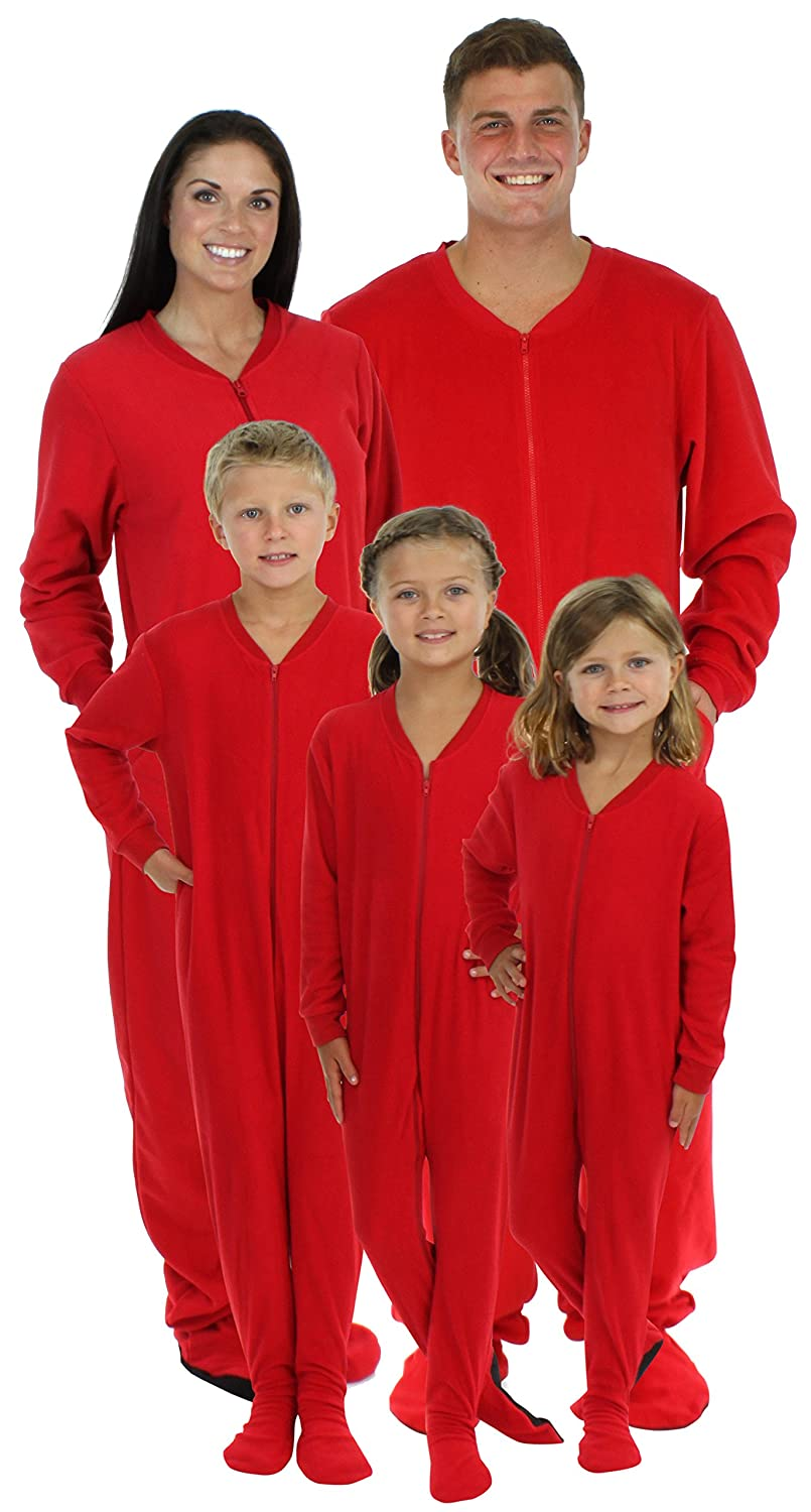 SleepytimePjs Family Matching Red Fleece Onesie Pjs Footed Pajamas for Family