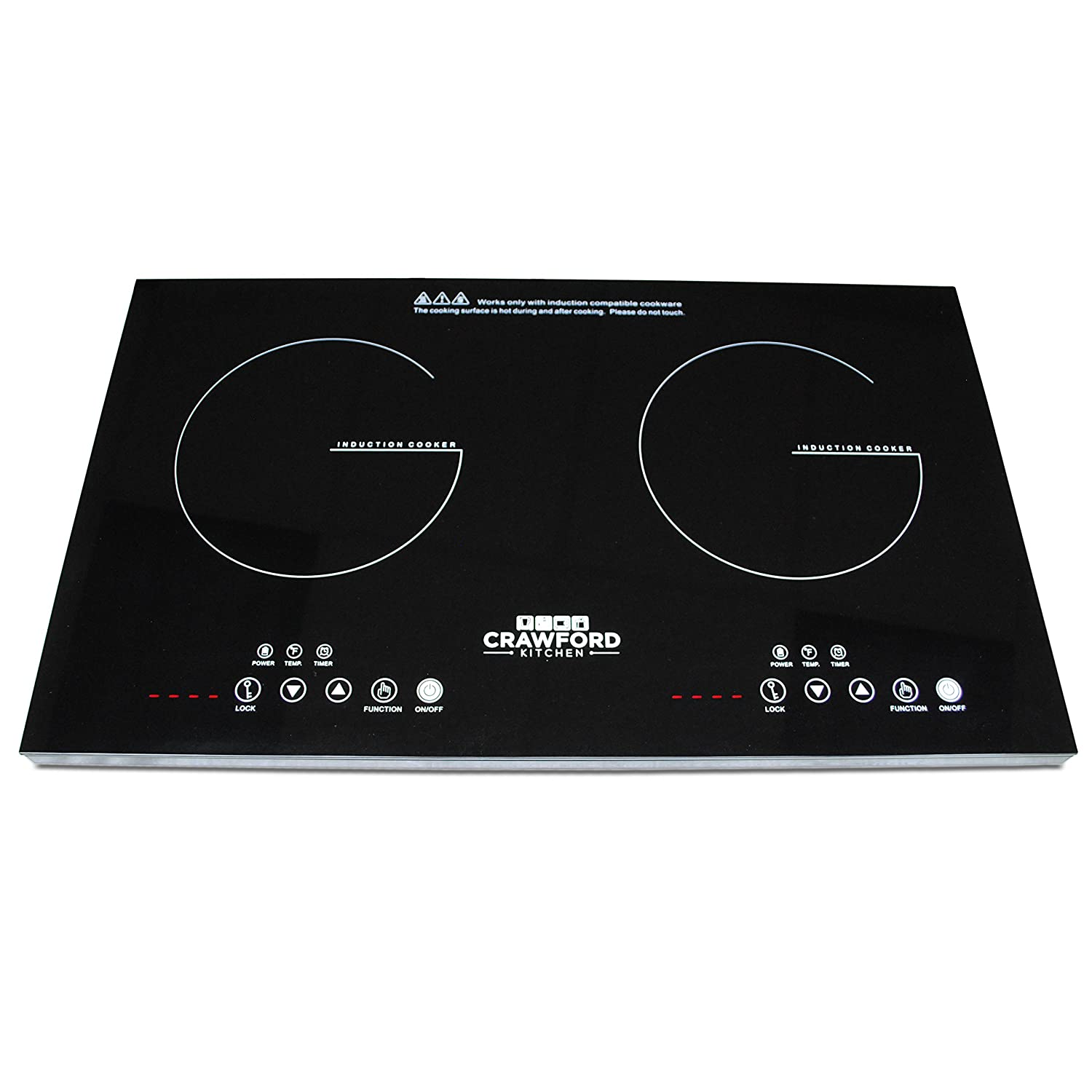 Crawford Kitchen 1800W Double Digital Induction Cooktop | Portable Countertop Design & Easy To Clean | New Touch Panel Controls (Double) IDCCKS8TC