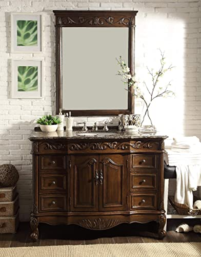 48″ Baltic Brown Granite Counter top Beckham Bathroom Sink Vanity Mirror Set SW-3882SB-TK-48/MR-3882