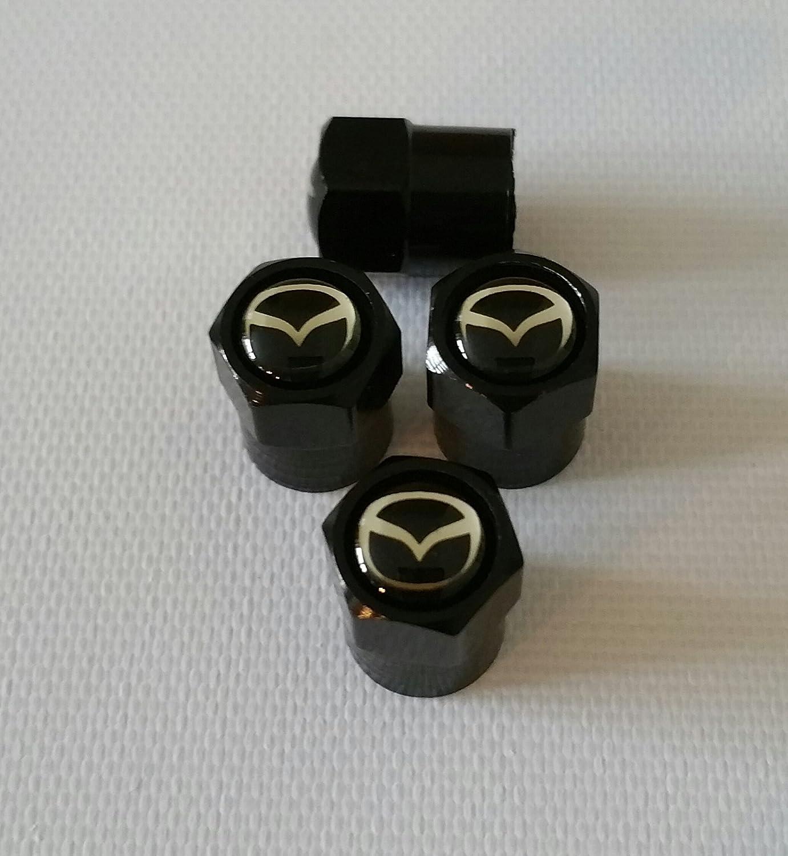 Mazda Black Top Set von vier schwarzen Metall Auto Ventil Reifen Staubkappe Mazda 2 3 5 6 MX-5 CX-5