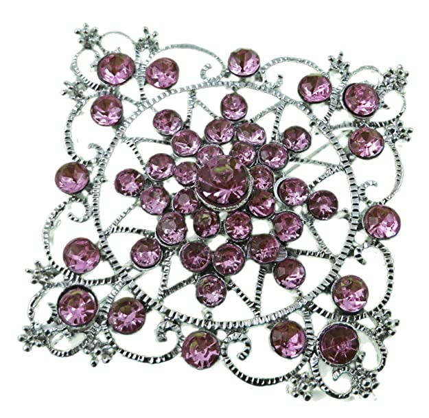 Victorian Costume Jewelry to Wear with Your Dress Diamond Shaped Brooch with Silver Nickel Finish and Pink Stones $4.25 AT vintagedancer.com