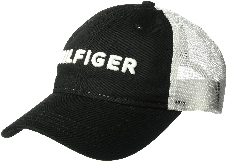 Tommy Hilfiger Mens Dad Hat Hilfiger Trucker Cap, Black O/S at Amazon Mens Clothing store: