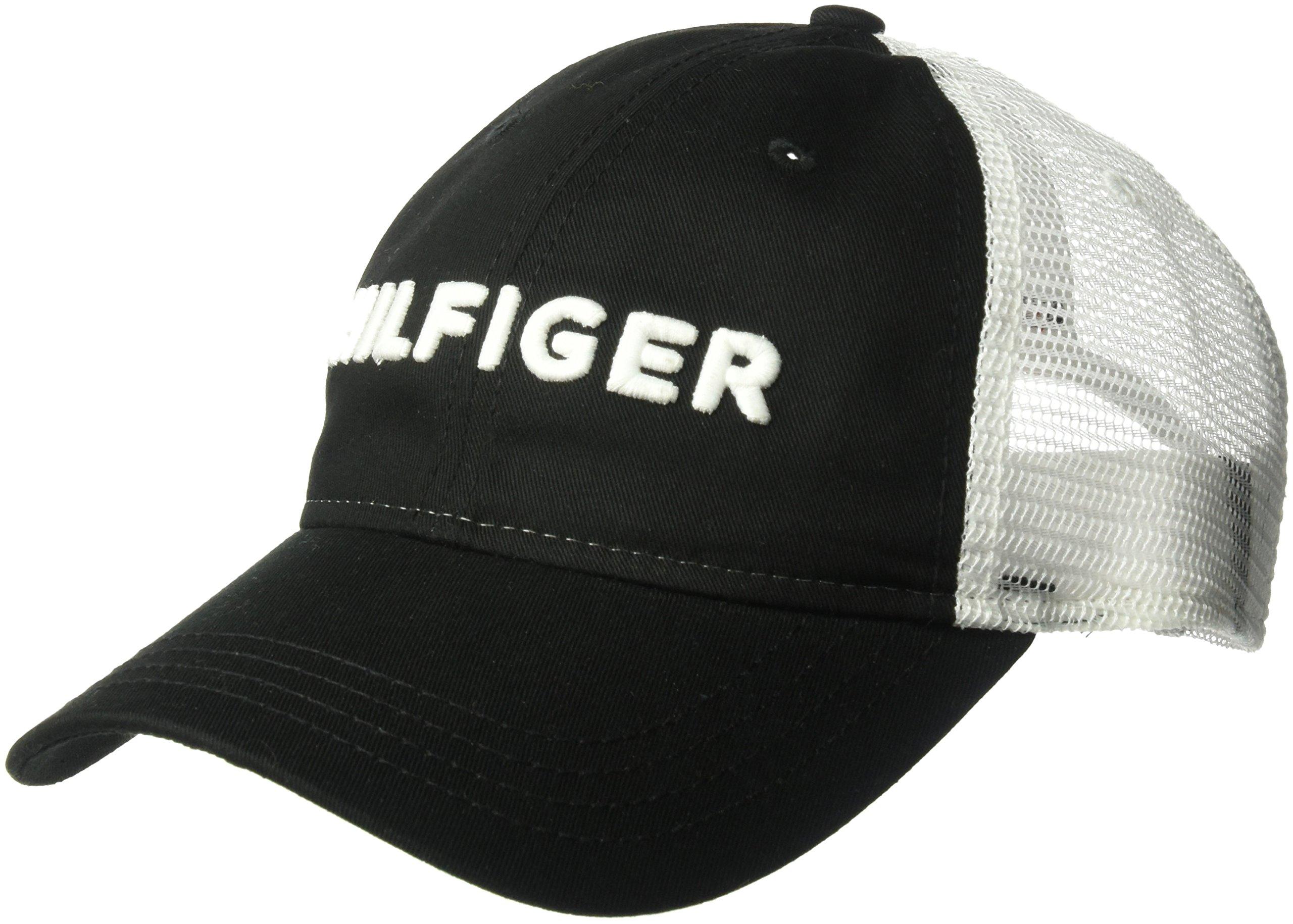 d7c48dcf Galleon - Tommy Hilfiger Men's Dad Hat Hilfiger Trucker Cap, Black O/S
