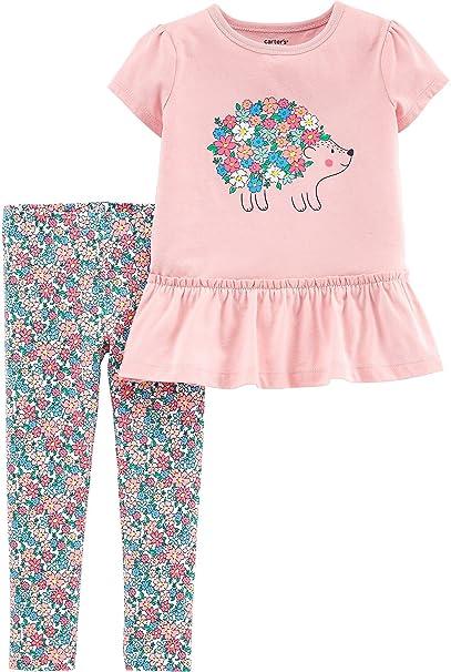 4ec87b65c Amazon.com  Carter s Baby Girls Floral Hedgehog Peplum Leggings Set ...