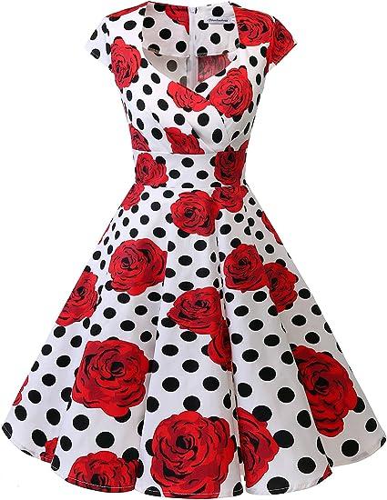 TALLA L. Bbonlinedress Vestido Corto Mujer Retro Años 50 Vintage Escote White Black Rose L