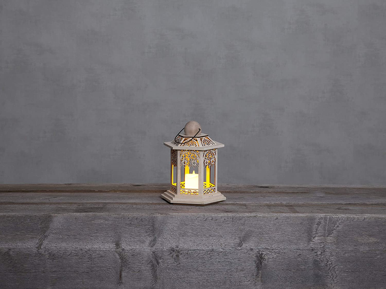 Best Season LED-HolzlaterneDeutsche Weihnacht natur 20 x 14 cmVierfarb-Karton 270-37 flackerndMaterial: Holz batteriebetrieben