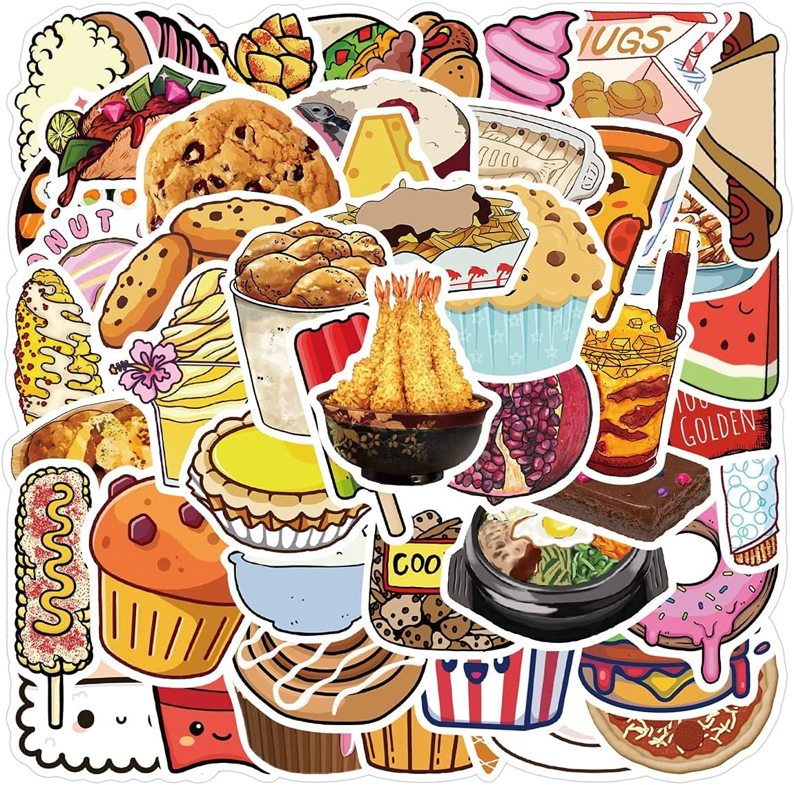Cute Food Stickers Cake Snacks Sushi Rice Stickers 50PCS Ice Cream Cartoon Decals Waterproof Vinyl Stickers for Laptop Water Bottles Skateboard Phone Luggage Computer Car Guitar Motorcycle Journal