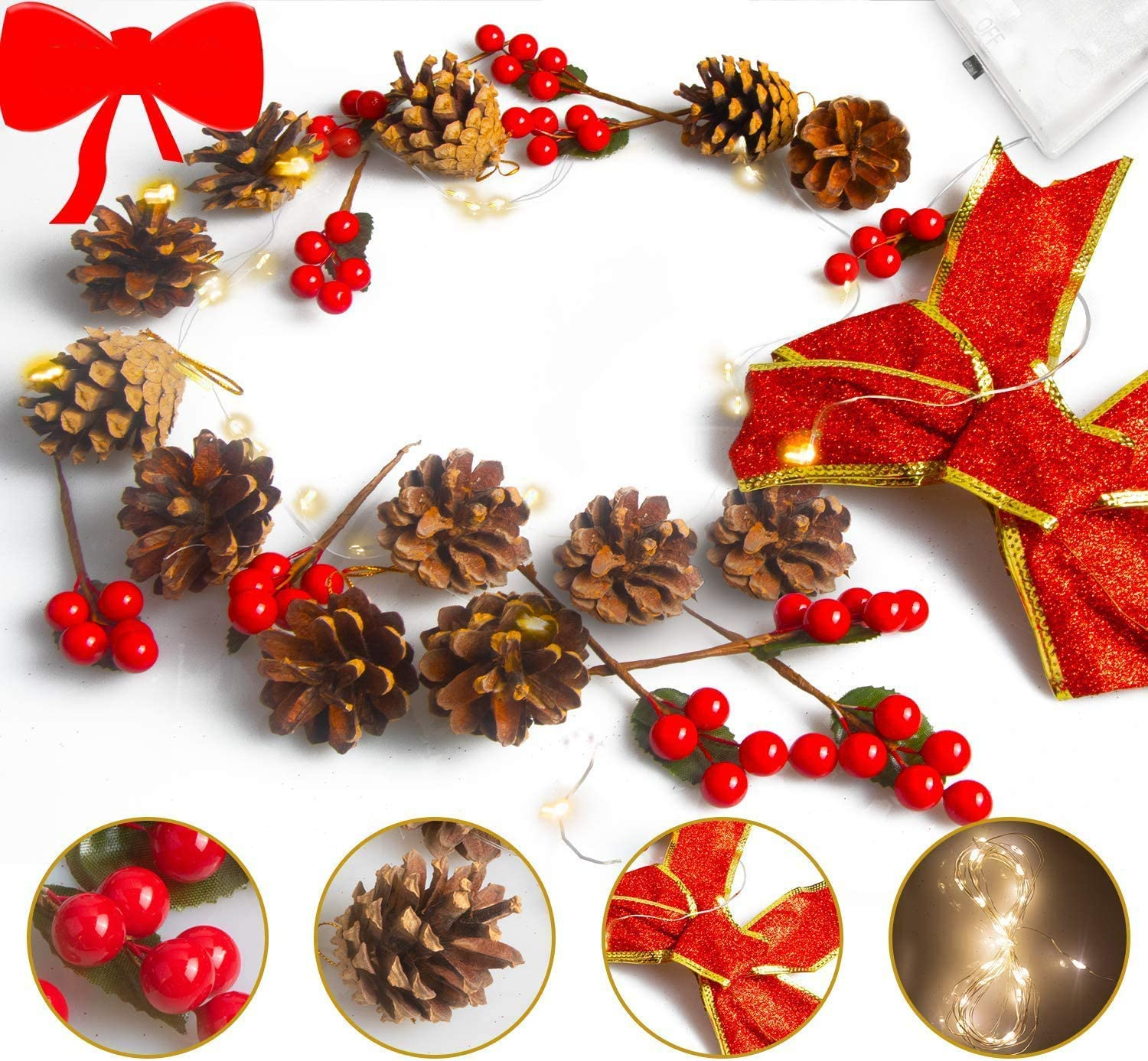 Ponwec Christmas Tree Ornaments, Christmas Tree Door Hanging Décor with 12 Pine Cones 10 Red Berries 2 LED String Lights and 1 Red Glitter Bow for Xmas Wreath Holiday Wedding Party DIY Crafts