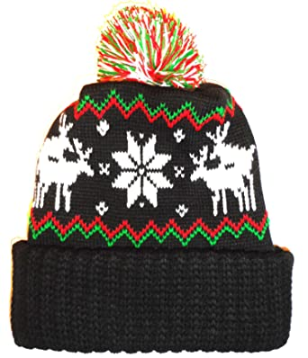 aa2591ad621 Amazon.com  Black Humping Sex Reindeer Snowflake Winter Beanie Pom ...
