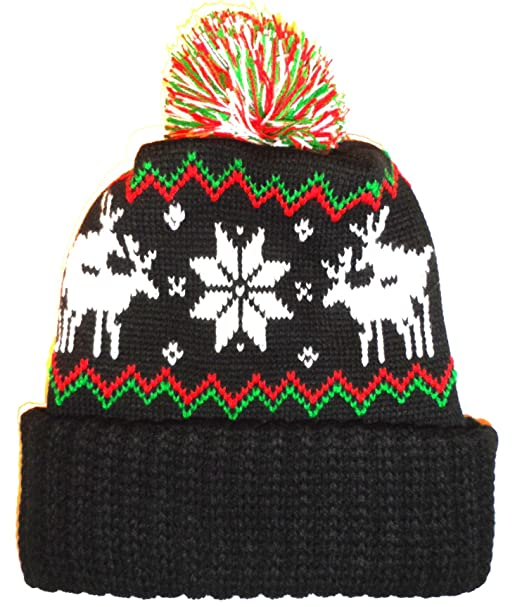 489781f22e3 Image Unavailable. Image not available for. Color  Black Humping Sex  Reindeer Snowflake Winter Beanie Pom Hat ...