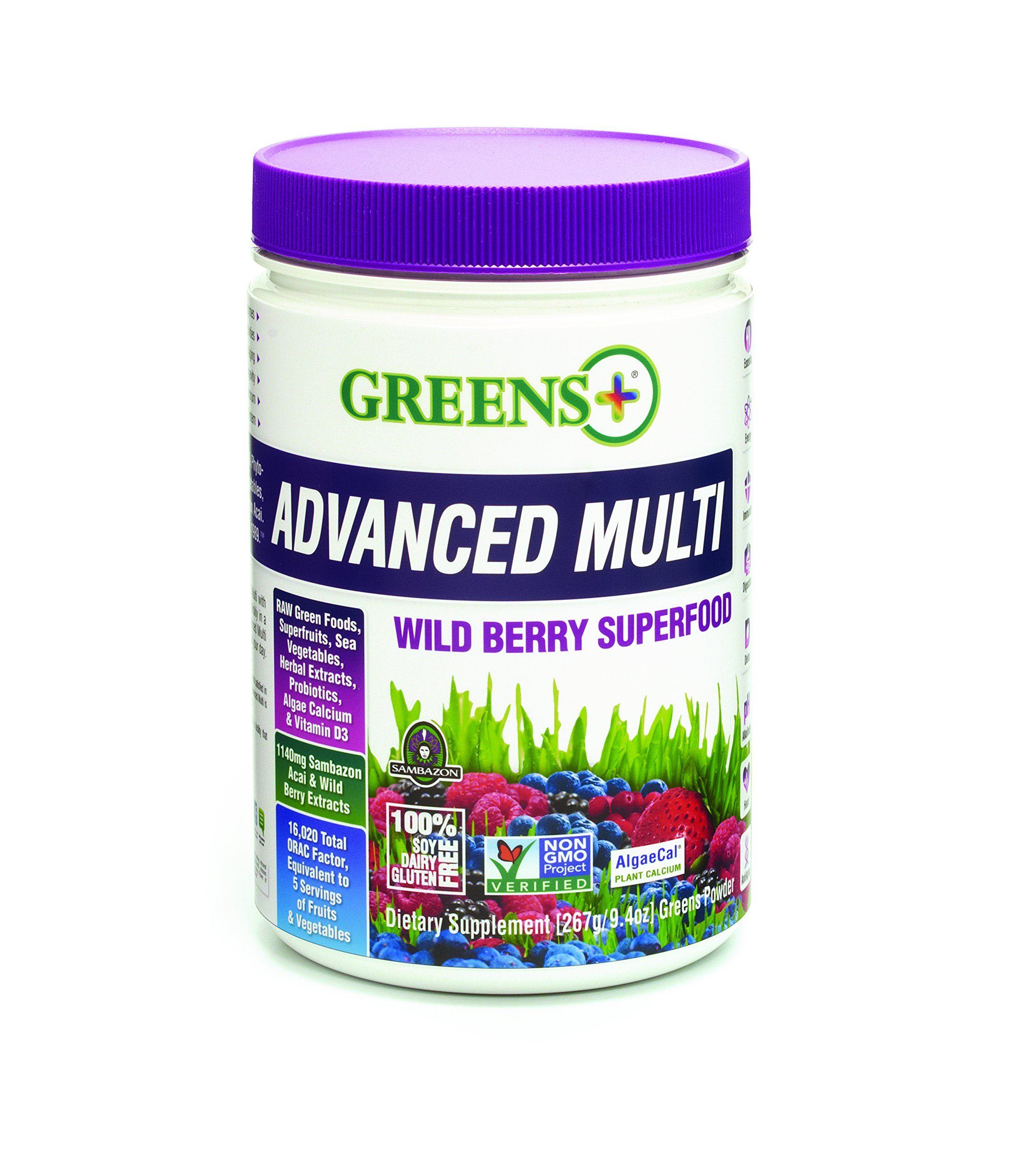 Greens Plus Advanced Multi Wild Berry Super Food | Dietary Supplement | Soy Dairy & Gluten free Greens Powder - 9.4 Oz