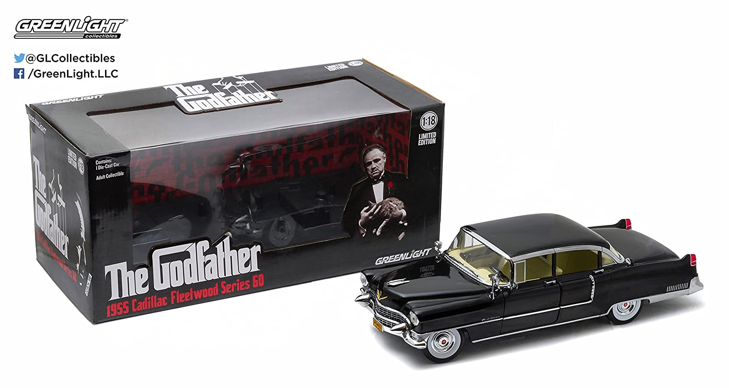 GreenLight Collectibles 12949 1955 The Godfather Cadillac Fleetwood Series 60 Special Die-Cast Vehicle (1:18 Scale), Black