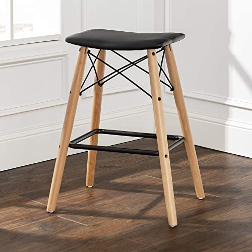 Walker Edison Furniture Company Mid Century Modern Faux Leather Backless Counter Bar Stool Kitchen, 26 Inch, Black