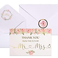 40 Bridal Shower Thank You Cards | Watercolor Floral and Gold Foil Thank You Notes Perfect for the Bride to be, Engagement & Wedding Party | Envelopes & Floral Foil Stickers Included.