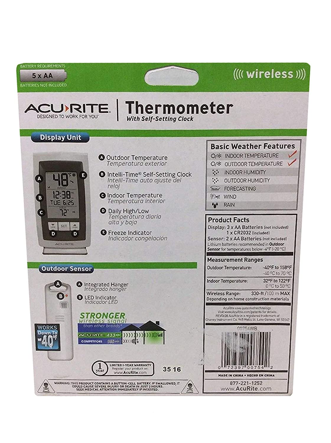 Amazon.com : Acurite Digital Indoor / Outdoor Wireless Thermometer 00754w4 with Self-setting Clock and Daily High/low : Garden & Outdoor