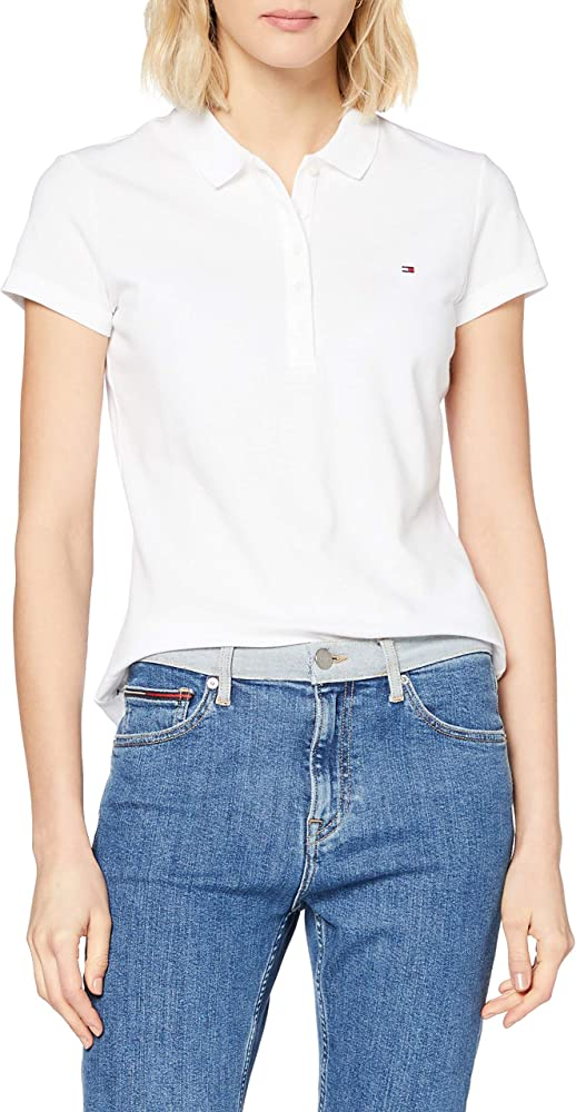 Tommy Hilfiger New Chiara Str Pq Polo SS, Blanco (Classic White ...