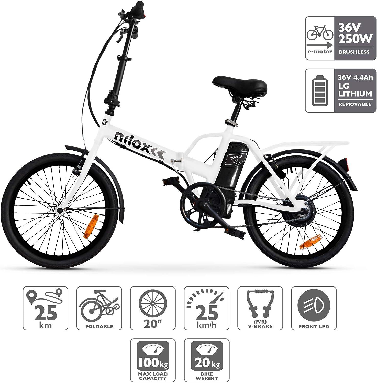 Nilox ebike X1- Bicicleta Eléctrica, Unisex Adulto, Blanco, Talla única: Amazon.es: Deportes y aire libre