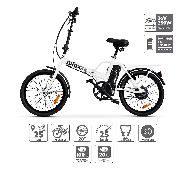 Bicicleta Eléctrica  Nilox X1-  Unisex Adulto, Blanco (AMAZON)