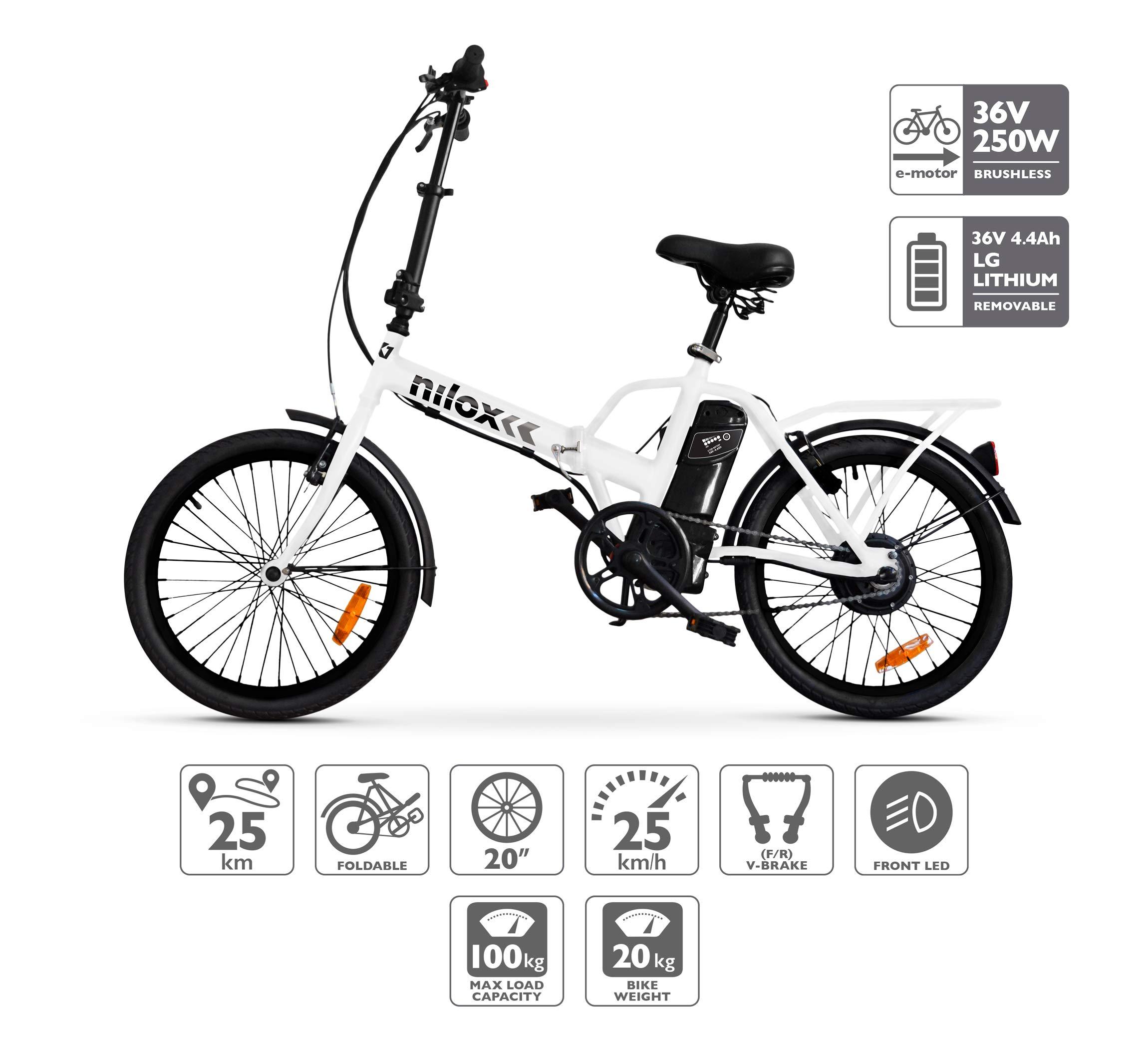 Nilox E Bike X1 New, Vélo Électrique Pliant Mixte Adulte, Blanc product image