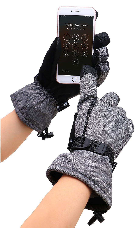 D Diana Dickson Mens Thinsulate Insulation Winter Waterproof Touchscreen Snowboard//Ski Gloves