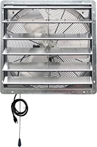 """Iliving ILG8SF24V-T 24 inch Shutter Exhaust Attic Garage Grow, Ventilation Fan with 2 Speed Thermostat 6 Foot Long 3 Plugs Cord, 24"""" - Variable, Silver"""