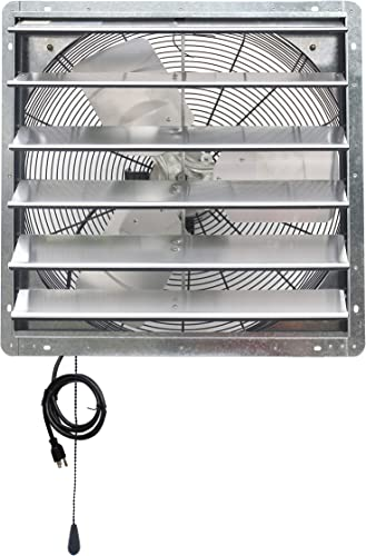 iLIVING ILG8SF24V-T 24 inch Shutter Exhaust Attic Garage Grow, Ventilation Fan with 2 Speed Thermostat 6 Foot Long 3 Plugs Cord, 24 – Variable, Silver