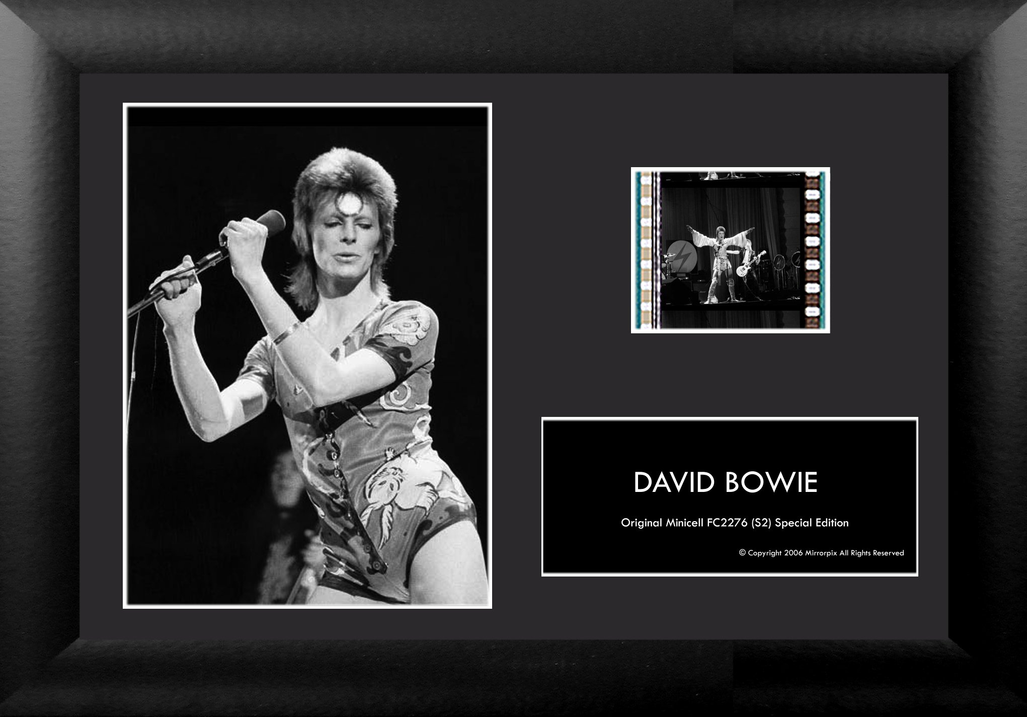 Film Cells David Bowie 35mm Minicell Display w/COA and Easel Stand!