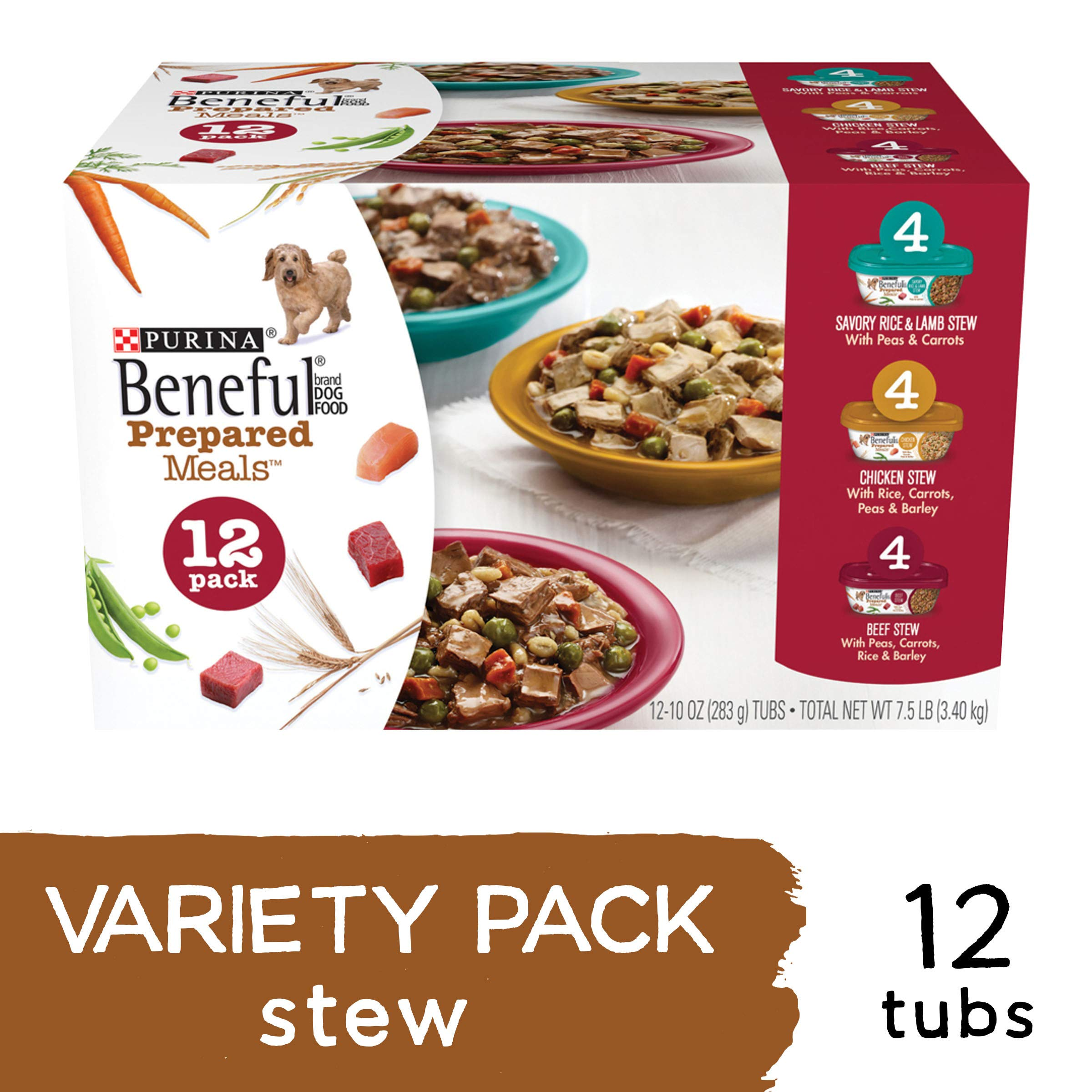 Purina Beneful Gravy Wet Dog Food Variety Pack, Prepared Meals Stew - (12) 10 oz. Tubs by Purina Beneful