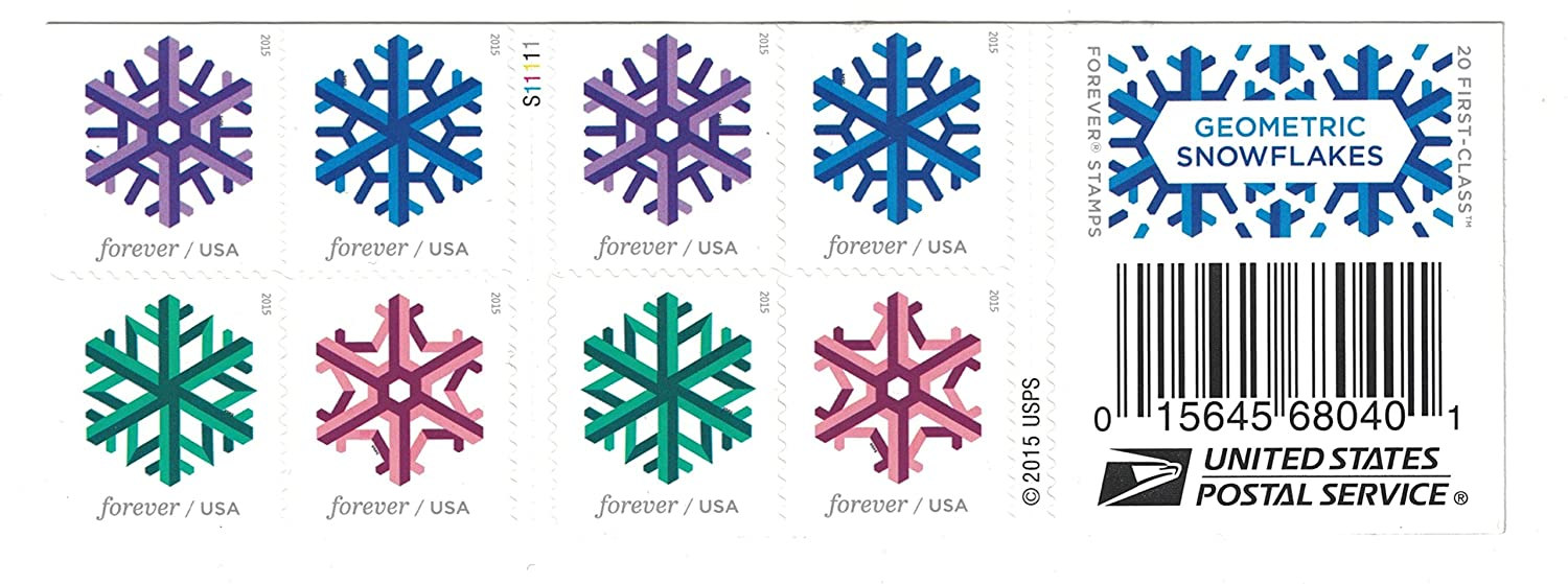 Geometric Snowflakes Usps Forever Stamps Book Of 20 2015 New Release Ebay